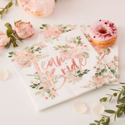 "Floral & Rose Gold ""Team Bride"" Paper Napkins"